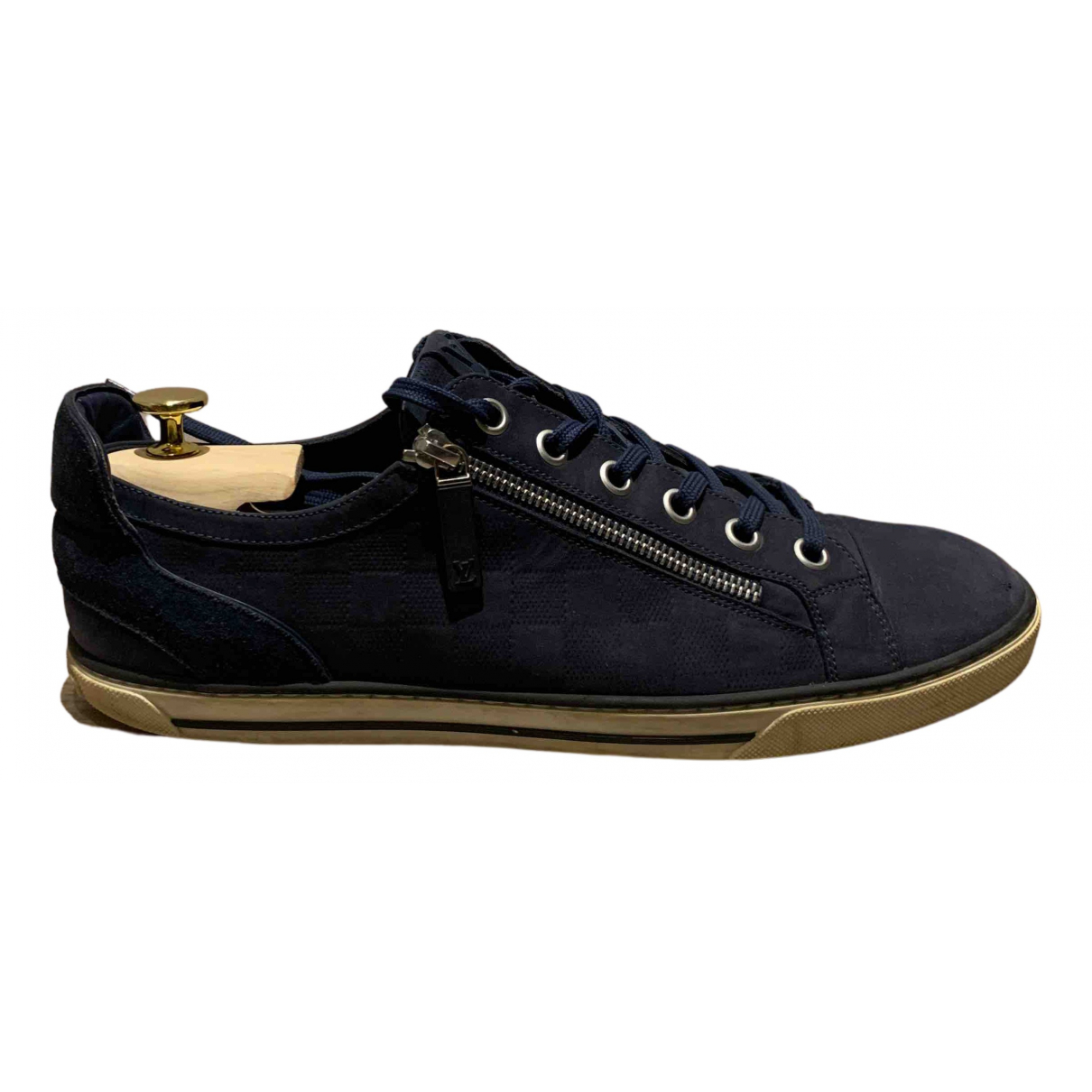 Louis Vuitton N Navy Suede Trainers for Men 9 US