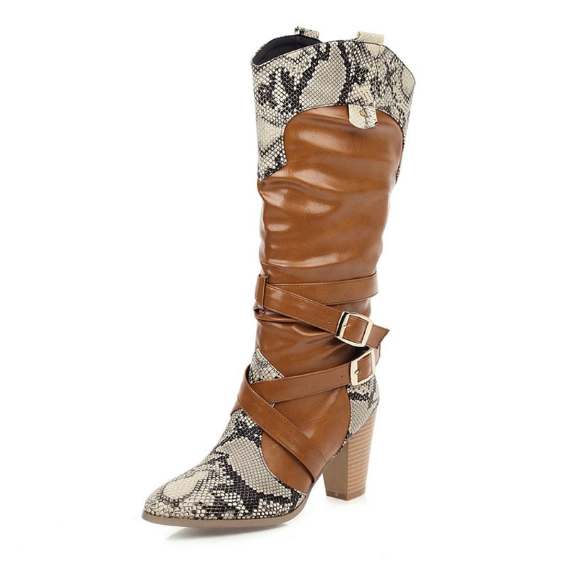 Ericdress Chunky Heel Round Toe Knee High Boots