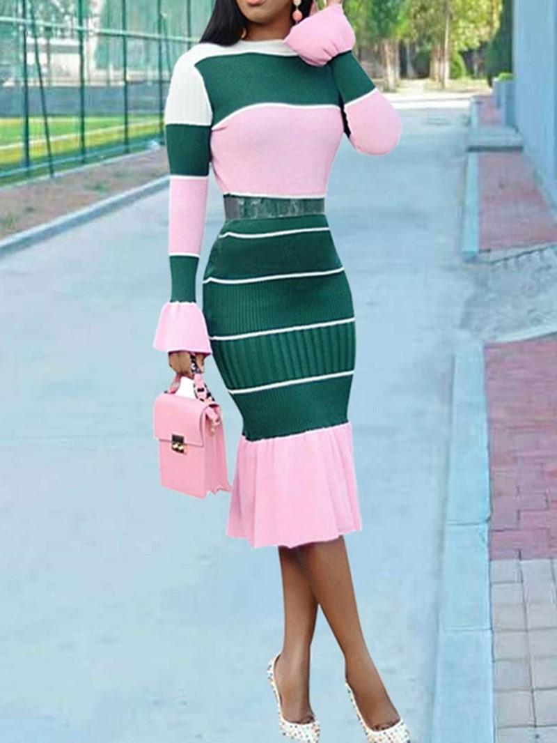 Ericdress Falbala Above Knee Long Sleeve Elegant High Waist Dress