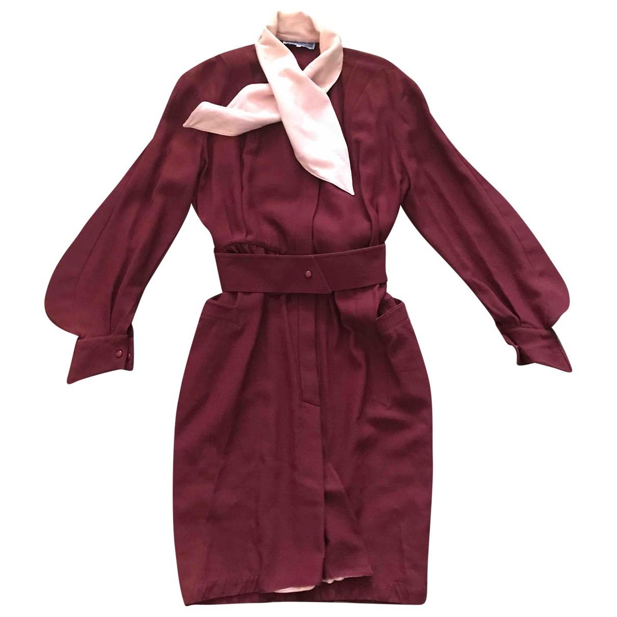 Thierry Mugler \N Kleid in  Bordeauxrot Wolle