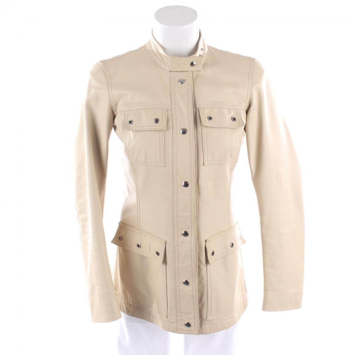 Prada - Veste   pour femme en cuir - beige