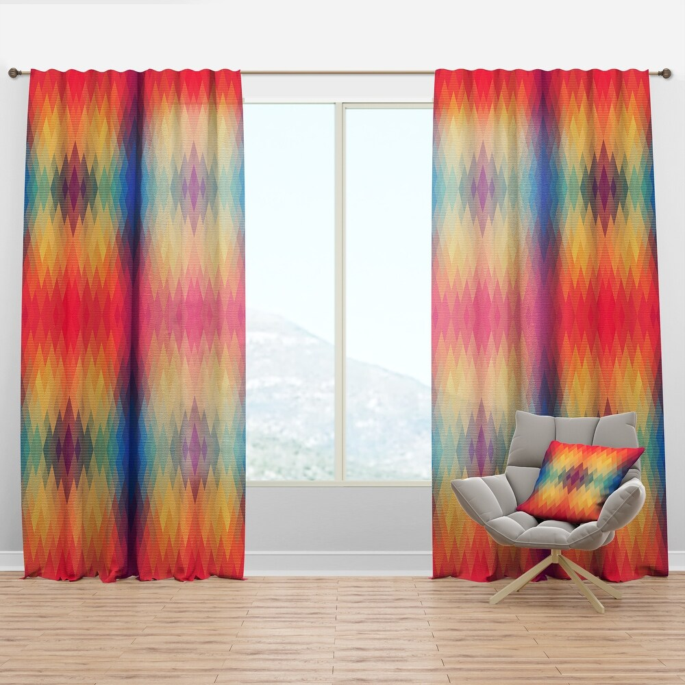 Designart 'Colorful Geometric Pattern' Modern Curtain Panel (50 in. wide x 108 in. high - 1 Panel)
