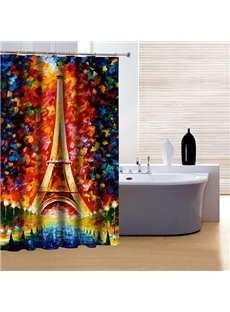 Artistic Design Fabulous Wonderful World and Eiffel Tower 3D Shower Curtain