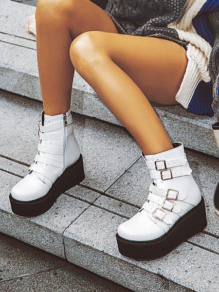 Milanoo Gothic Lolita Boots Platform Buckle PU Leather Round Toe Lolita Footwear