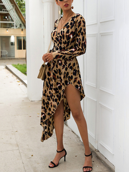 Yoins Khaki Criss-cross Leopard V-neck Long Sleeves Dress