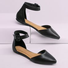 Buckled Ankle Side Pointed Toe Dorsay Ballet Flats