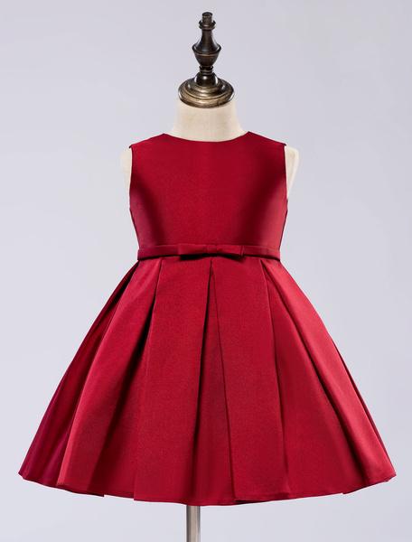 Milanoo Satin Flower Girl Dress Toddlers Knee Length Dress Princess Sleeveless Pageant Dress