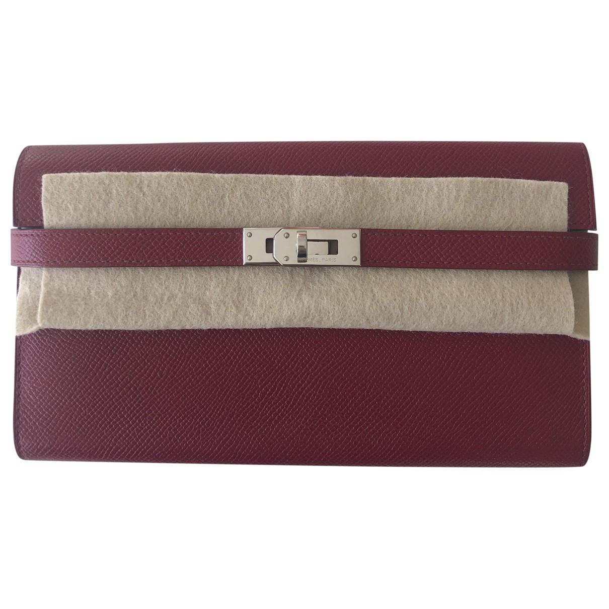 Hermes - Portefeuille Kelly pour femme en cuir - rouge