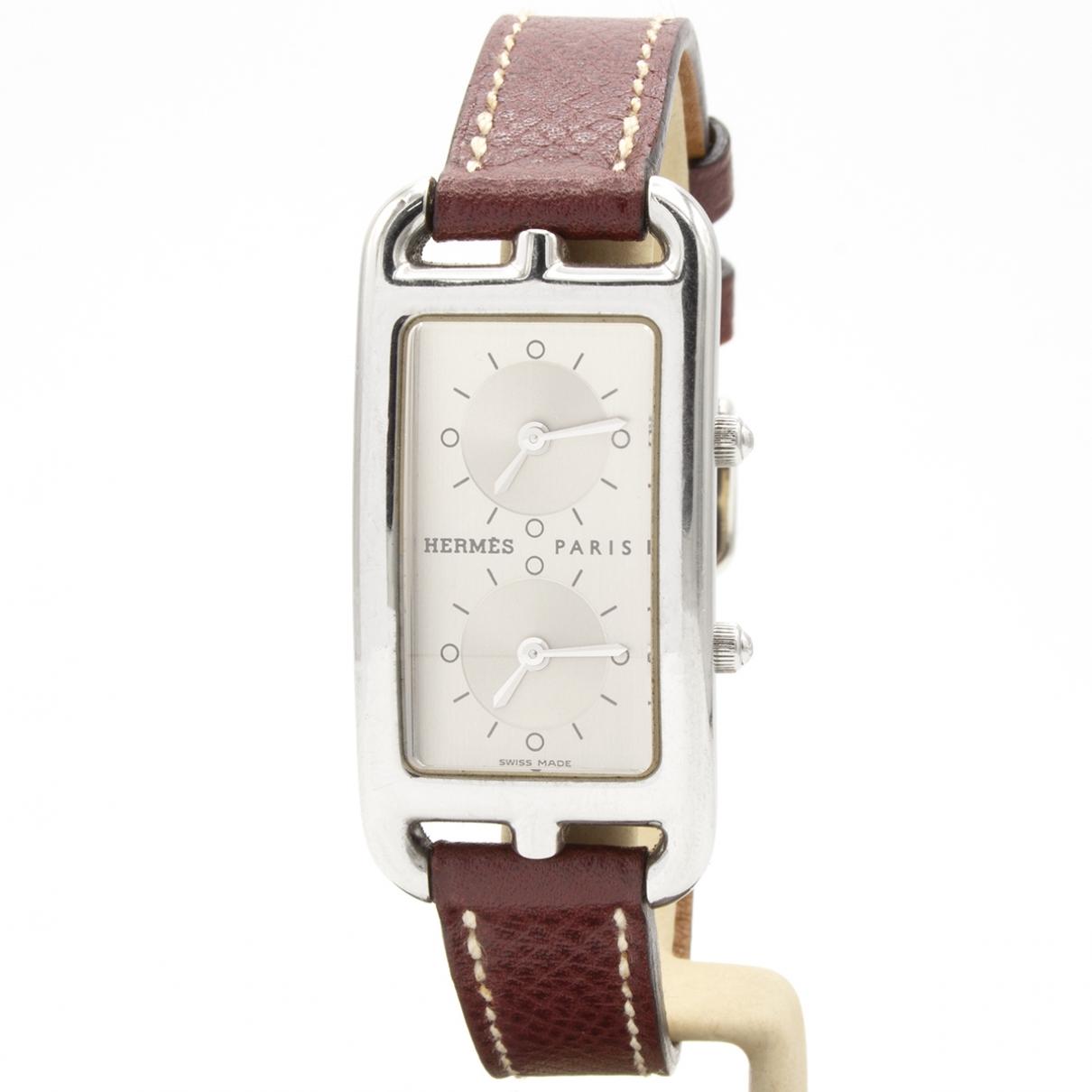 Hermès Cape Cod Dual Time Burgundy Steel watch for Women \N