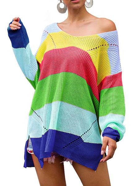 Milanoo Oversized Sweater Rainbow Stripe Women V Neck Long Sleeves Pullovers Knitwear
