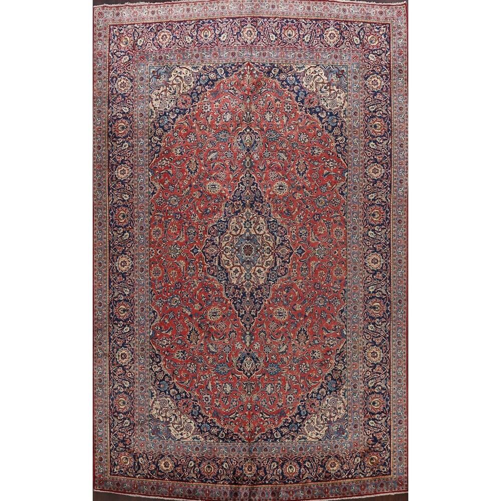 Antique Vegetable Dye Kashan Persian Area Rug Wool Handmade Carpet - 10'2