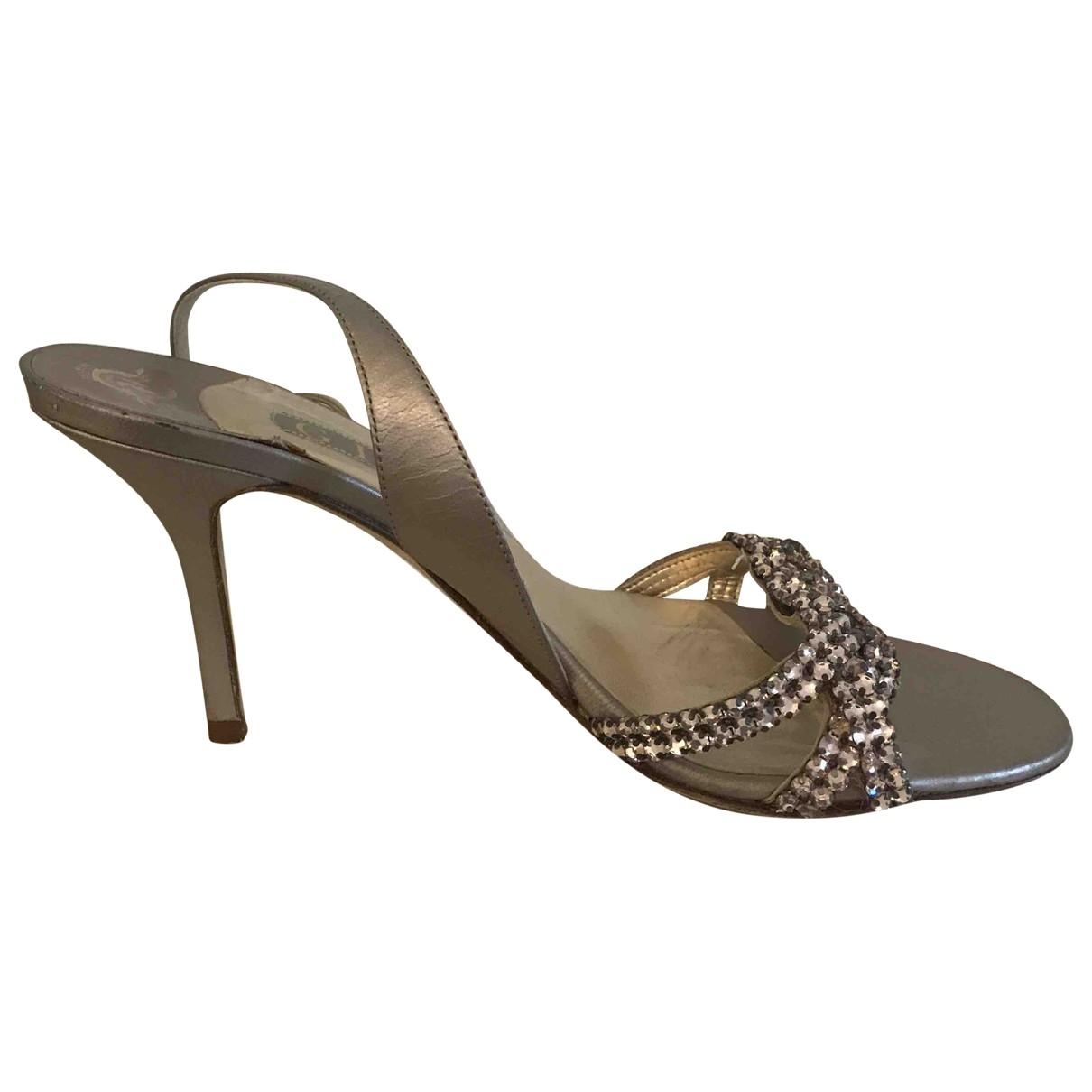 Gina \N Metallic Leather Sandals for Women 7 UK