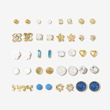 20pairs Faux Pearl Decor Earrings