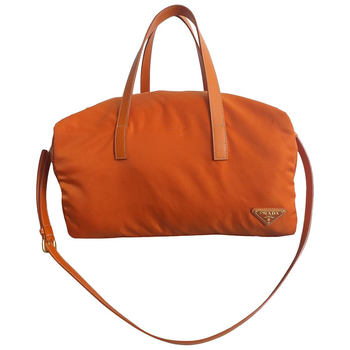 Prada - Sac a main   pour femme en toile - orange