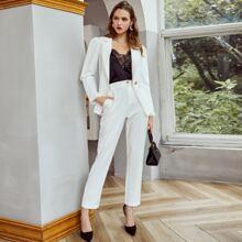 Lace Trim Single Button Blazer & Pants Set