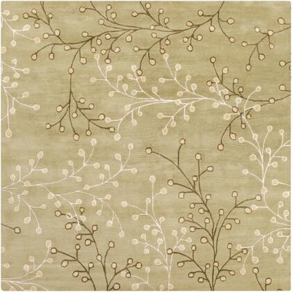 Athena ATH-5113 6' Square Cottage Rug in Taupe  Olive  Tan