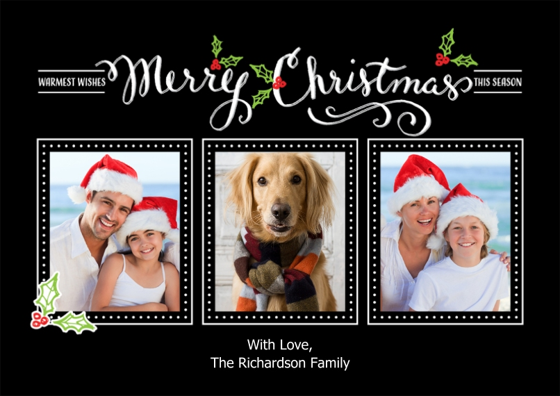 Christmas Photo Cards 5x7 Cards, Premium Cardstock 120lb, Card & Stationery -Christmas Calligraphy Collage