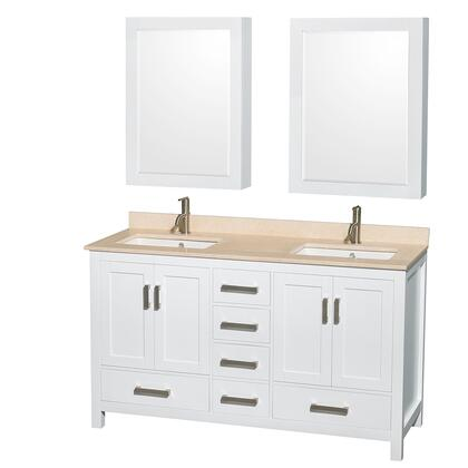 WCS141460DWHIVUNSMED 60 in. Double Bathroom Vanity in White  Ivory Marble Countertop  Undermount Square Sinks  and Medicine