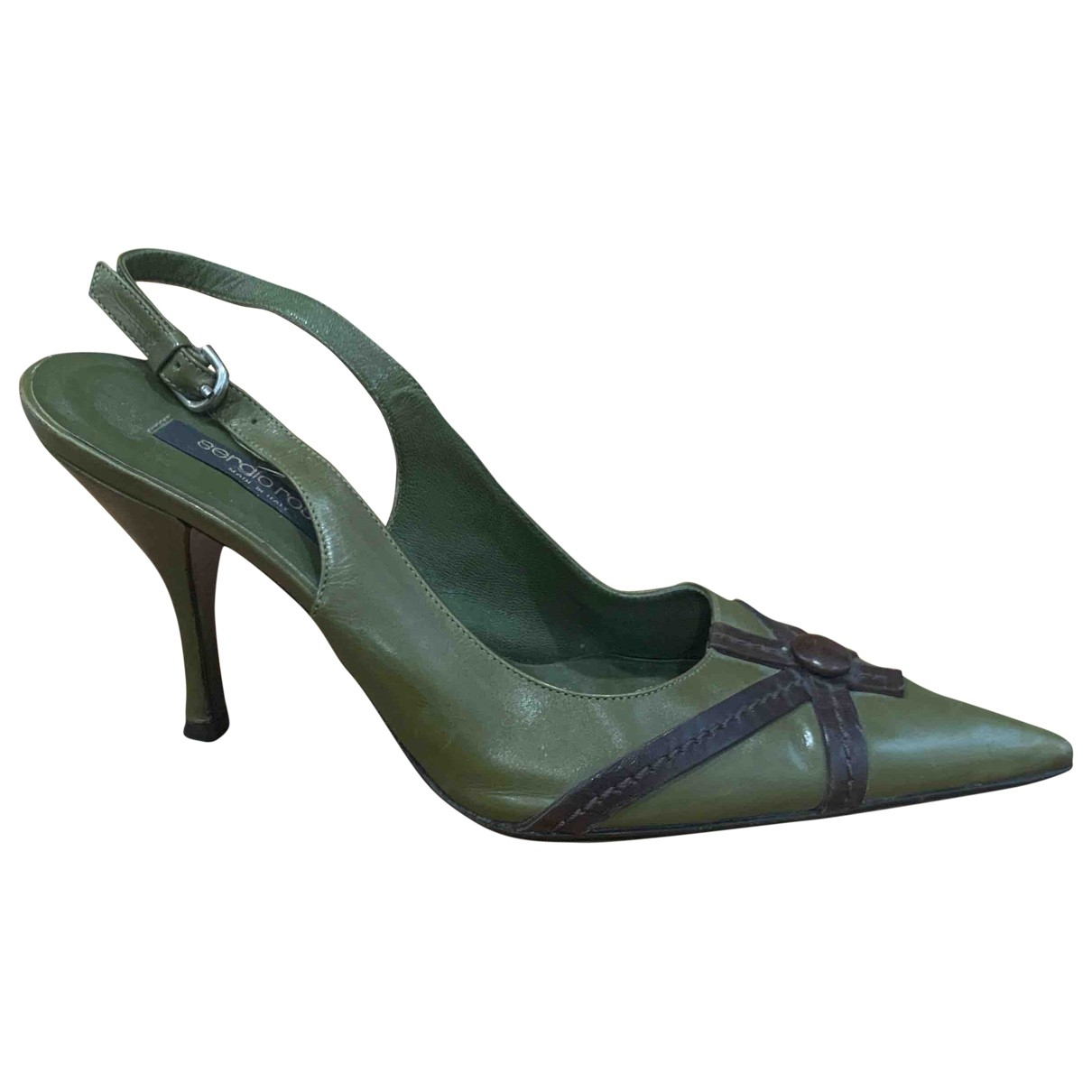 Sergio Rossi \N Khaki Leather Heels for Women 38 EU