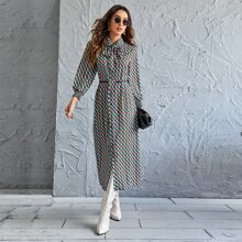 Tie Neck Allover Print Shirt Dress Without Belted