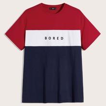 Maenner T-Shirt mit Buchstaben Grafik und Farbblock