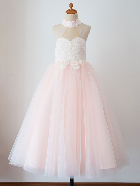 Milanoo Flower Girl Dresses High Collar Tulle Sleeveless Floor-Length Princess Silhouette Buttons Kids Party Dresses