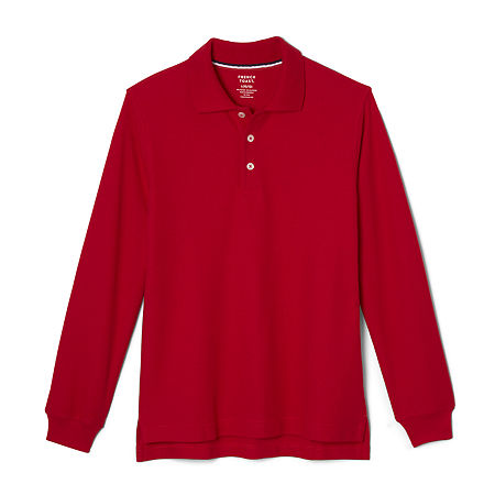 French Toast Little & Big Boys Long Sleeve Polo Shirt, X-large , Red