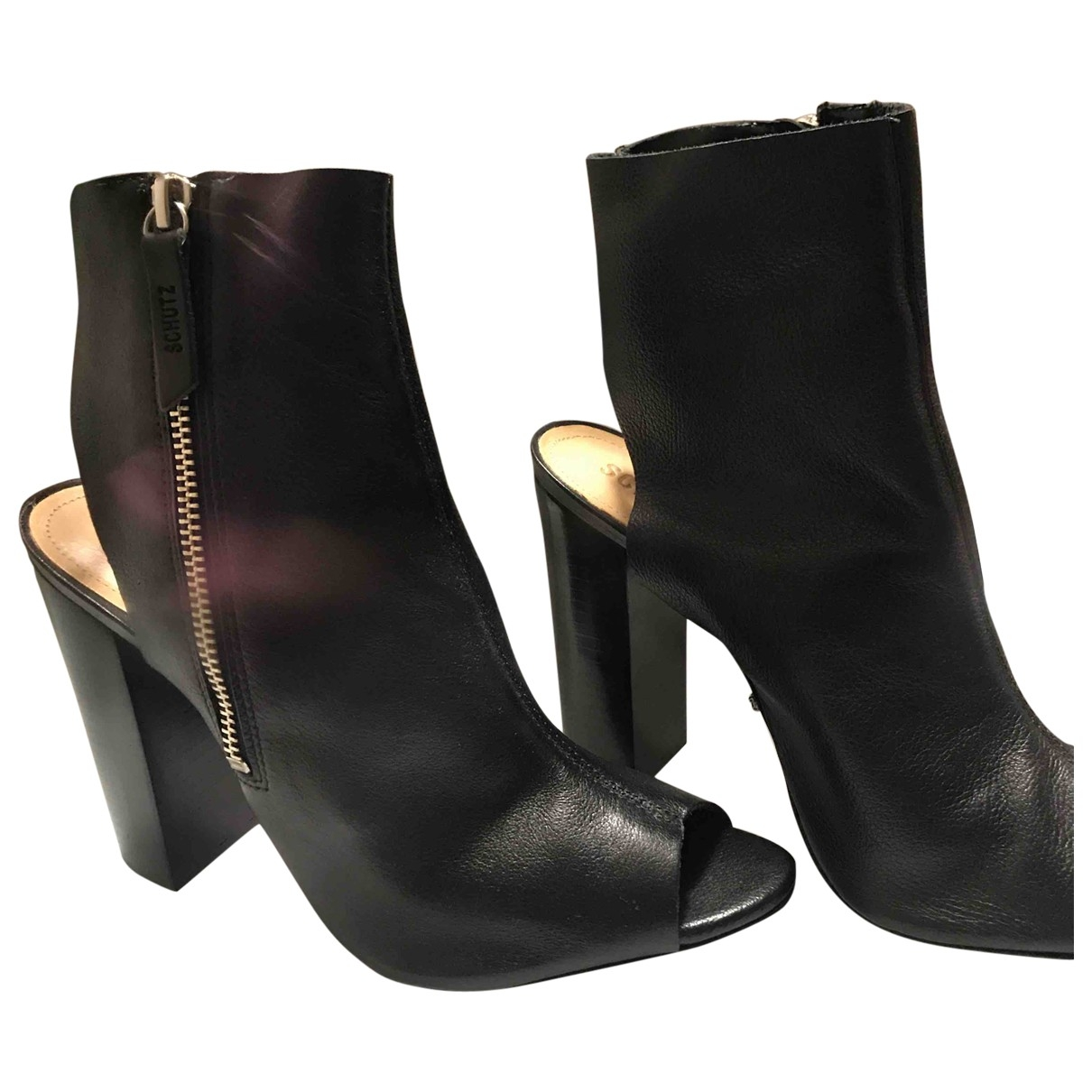 Schutz \N Black Leather Ankle boots for Women 8.5 US