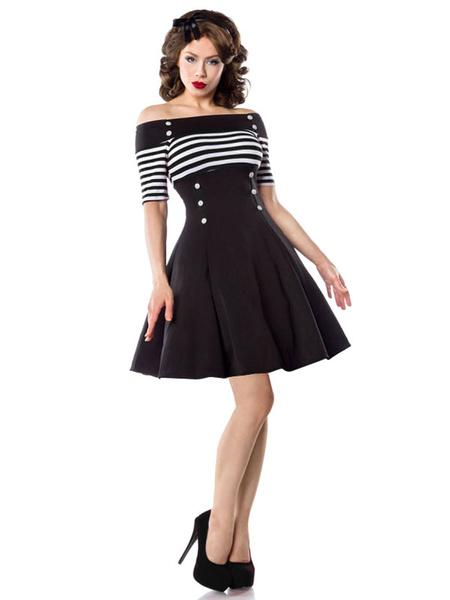 Milanoo Vestido negro de la vendimia del vestido de fiesta de  1950s mujeres del hombro rayas boton de frente vestidos de oscilacion
