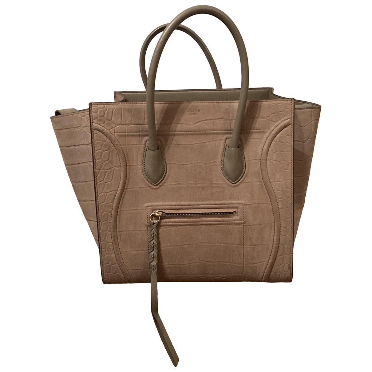Celine - Sac a main Luggage Phantom pour femme en suede - beige