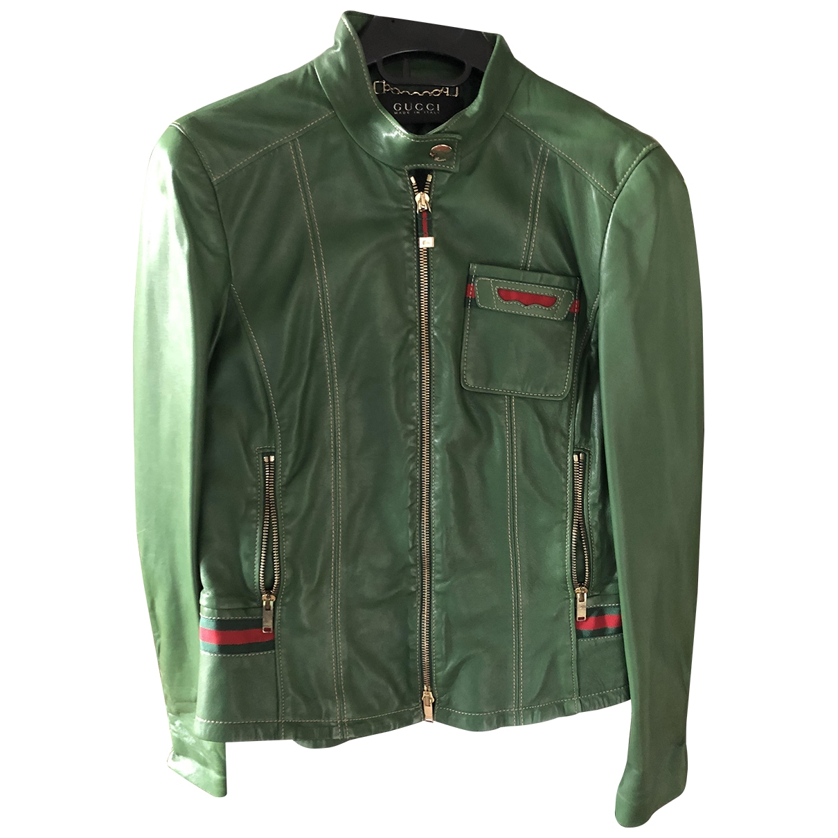 Gucci \N Green Leather Leather jacket for Women 40 IT