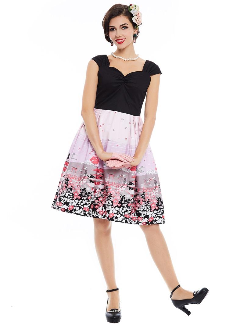 Ericdress Sweet Patchwork Floral Print A Line Dress
