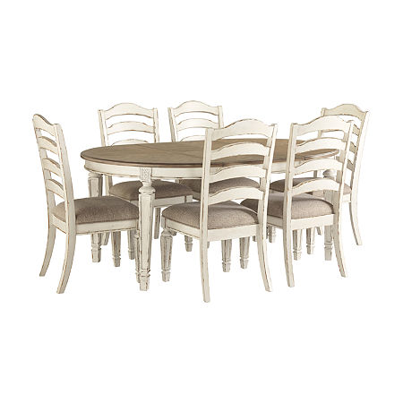 Signature Design by Ashley Realyn 7-Piece Dining Set, One Size , White
