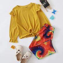 Outfits dos piezas para niña pequeña Volante Tie-Dye Casual