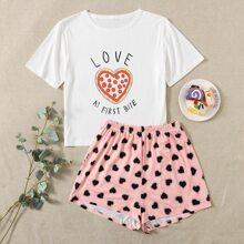 Schlafanzug Set mit Herzen und Buchstaben Muster