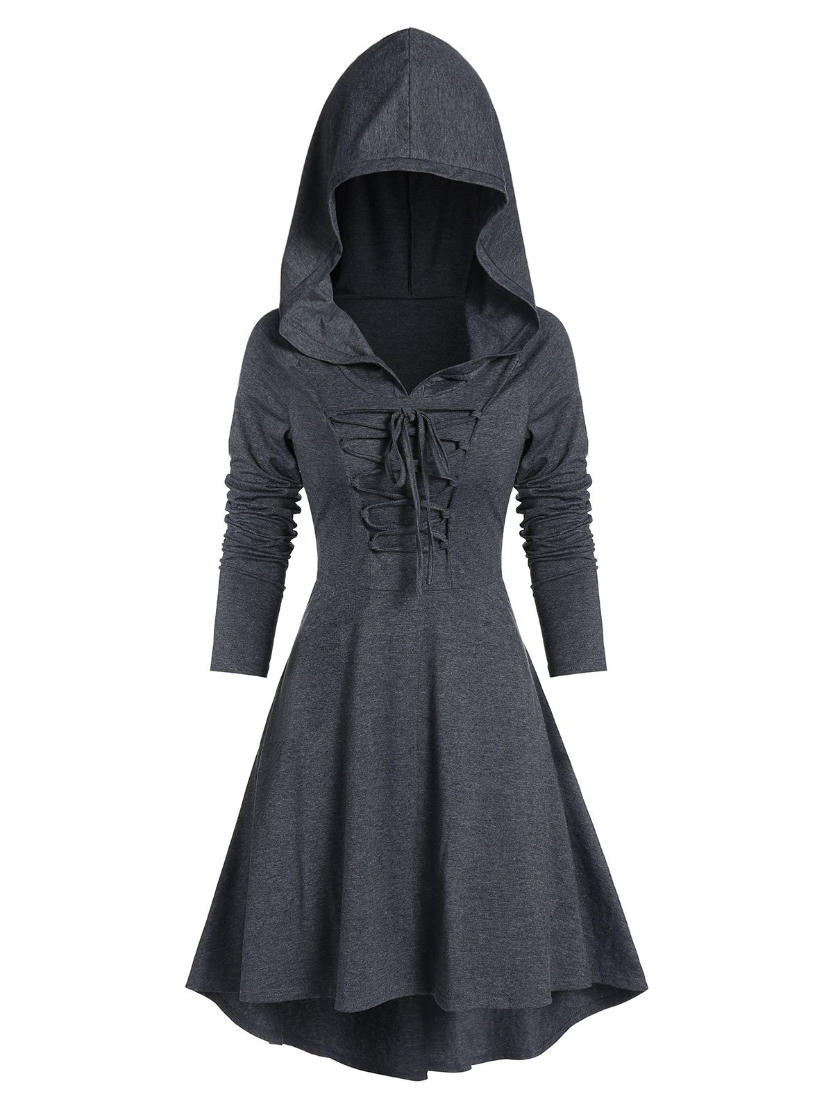 Lace-up High Low Hooded Heathered Gothic Dress