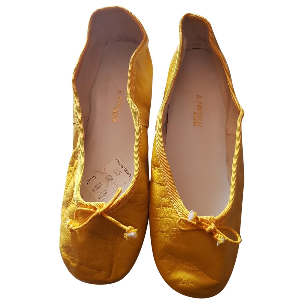 E Porselli - Ballerines   pour femme en cuir - jaune