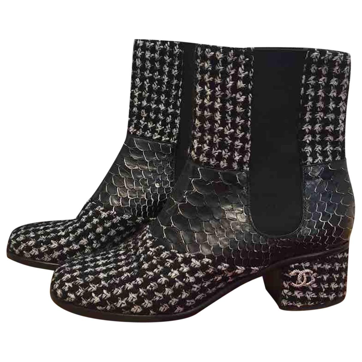 Chanel - Boots   pour femme en tweed - noir