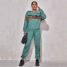 Pullover mit Leopard Muster Einsatz & Jogginghose Set