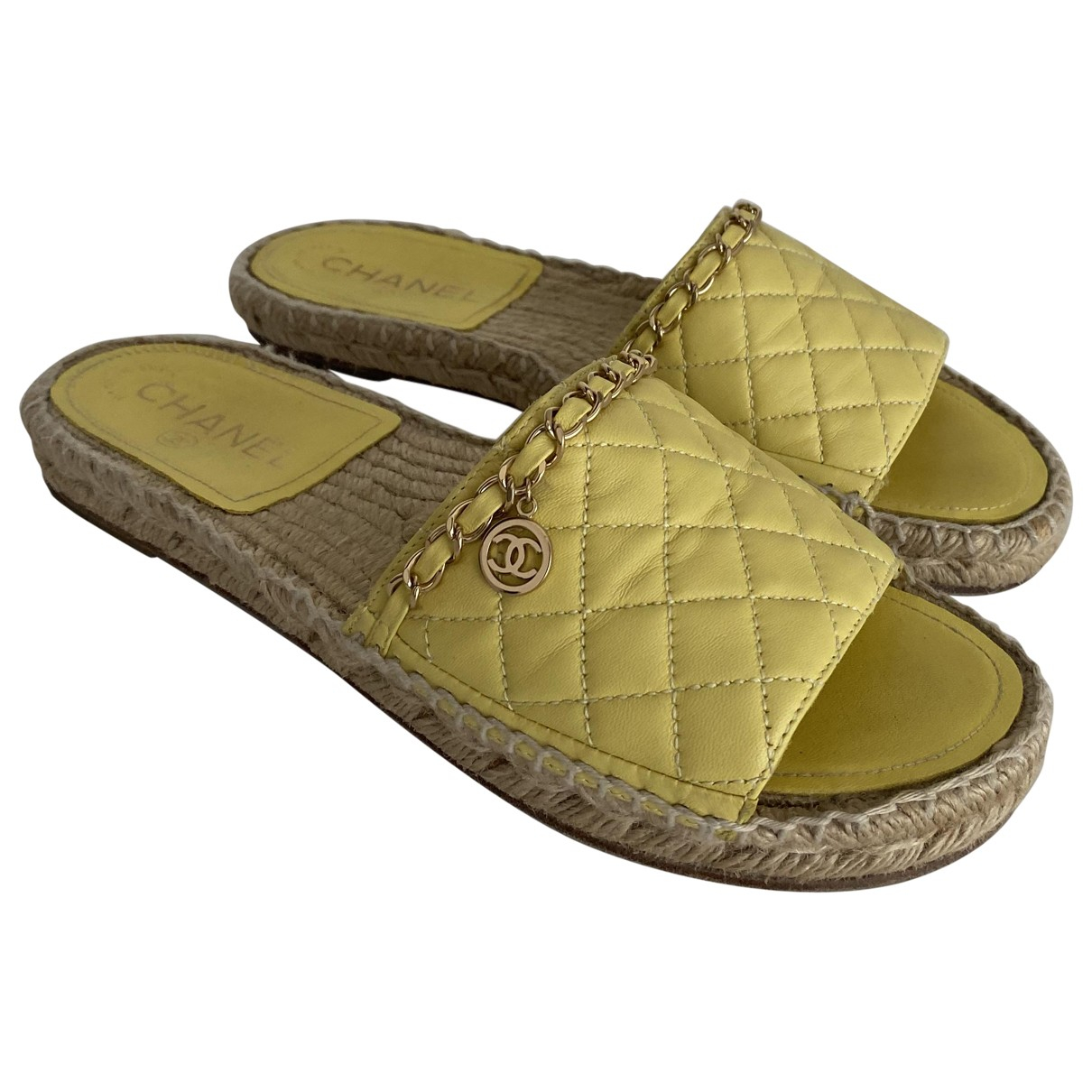 Chanel \N Yellow Leather Espadrilles for Women 38 EU