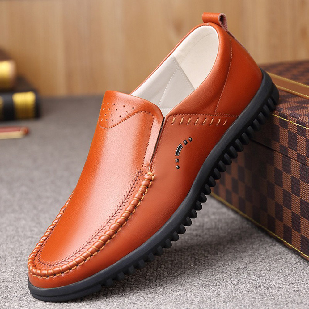 Men Microfiber Leather Slip On Comfy Soft Driving Casual Shoes