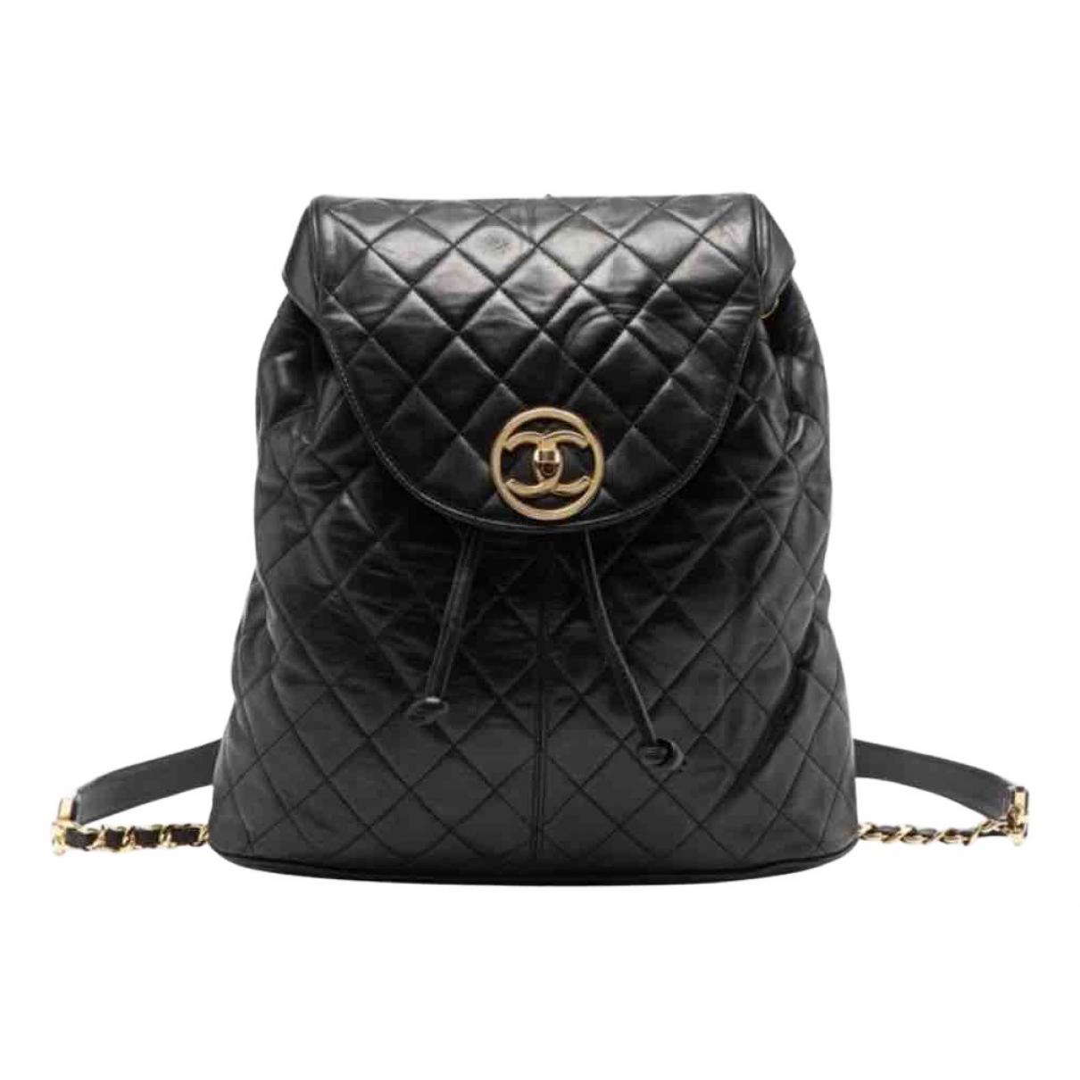 Chanel - Sac a dos   pour femme en cuir - noir
