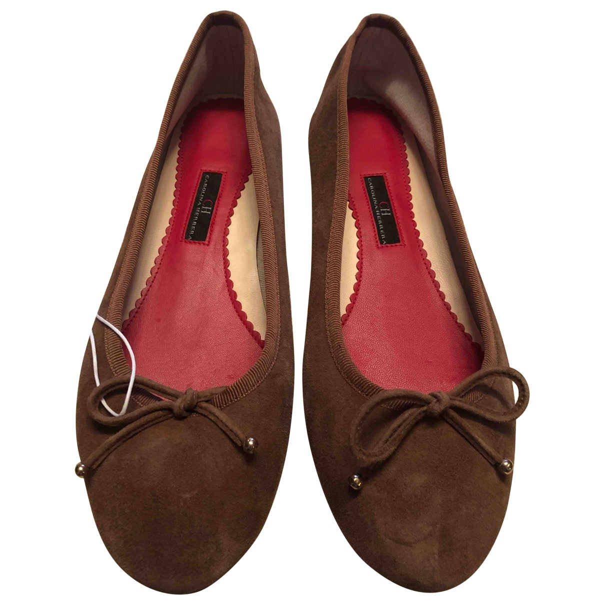 Carolina Herrera \N Brown Suede Ballet flats for Women 40 EU