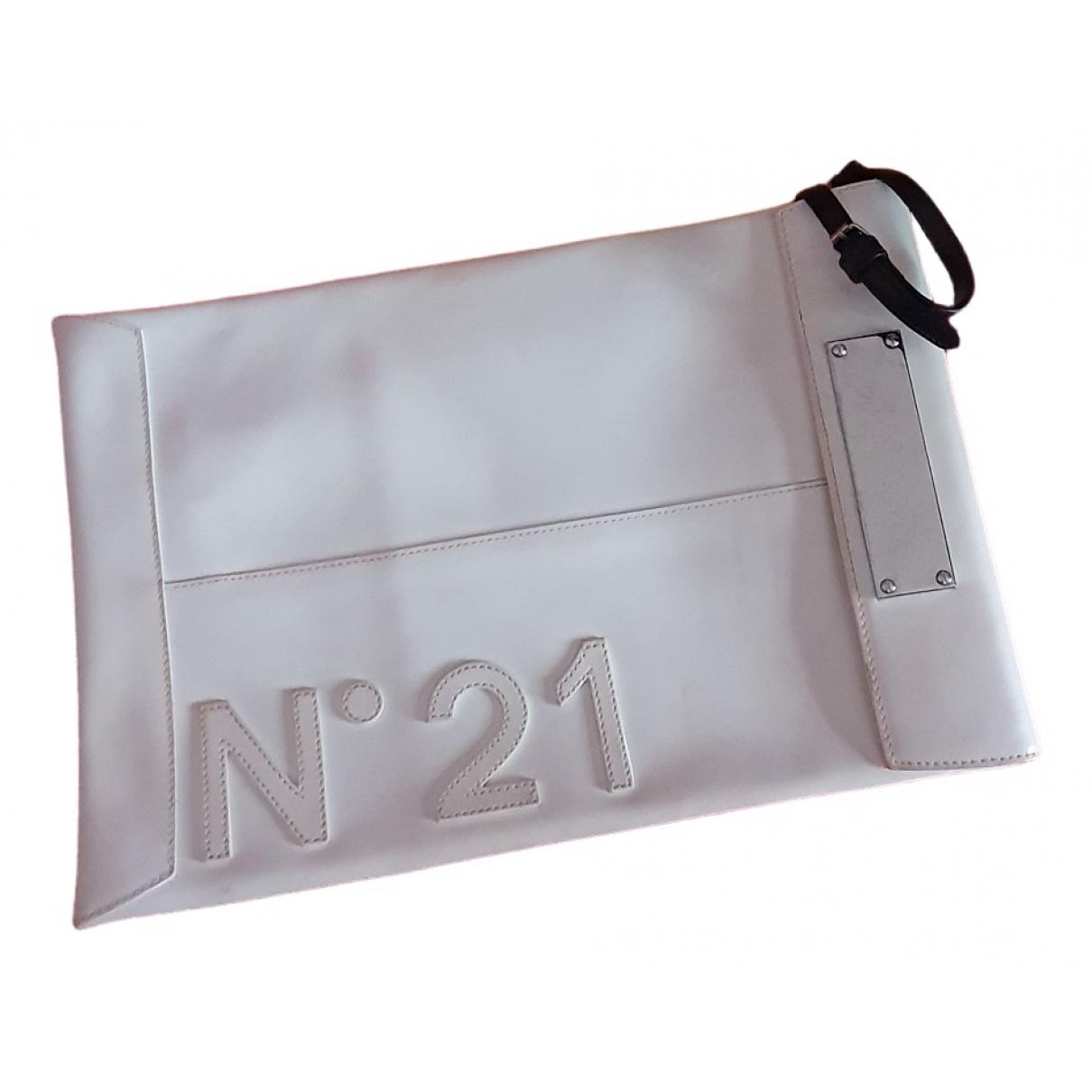 N°21 \N Clutch in  Weiss Leder