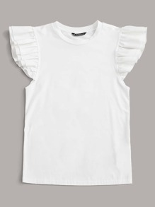 Two Layer Ruffle Sleeve Solid Top