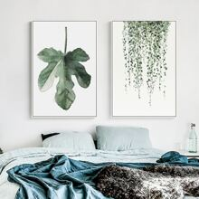 2pcs Leaf Print Wall Painting Without Frame