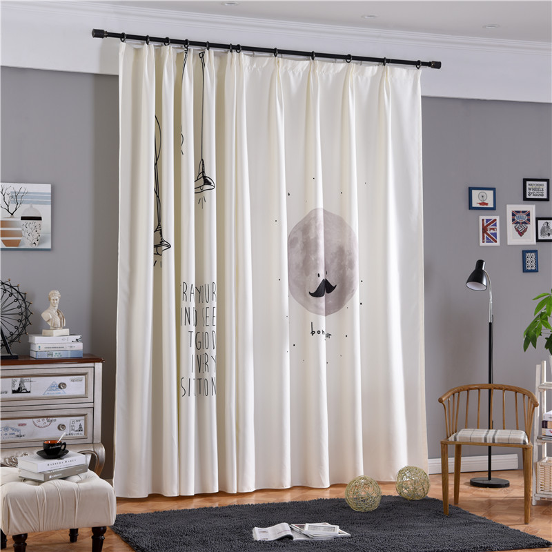 Blackout Polyester Digital Printing Figure and Letters Modern Style 2 Panels Decorative Curtain