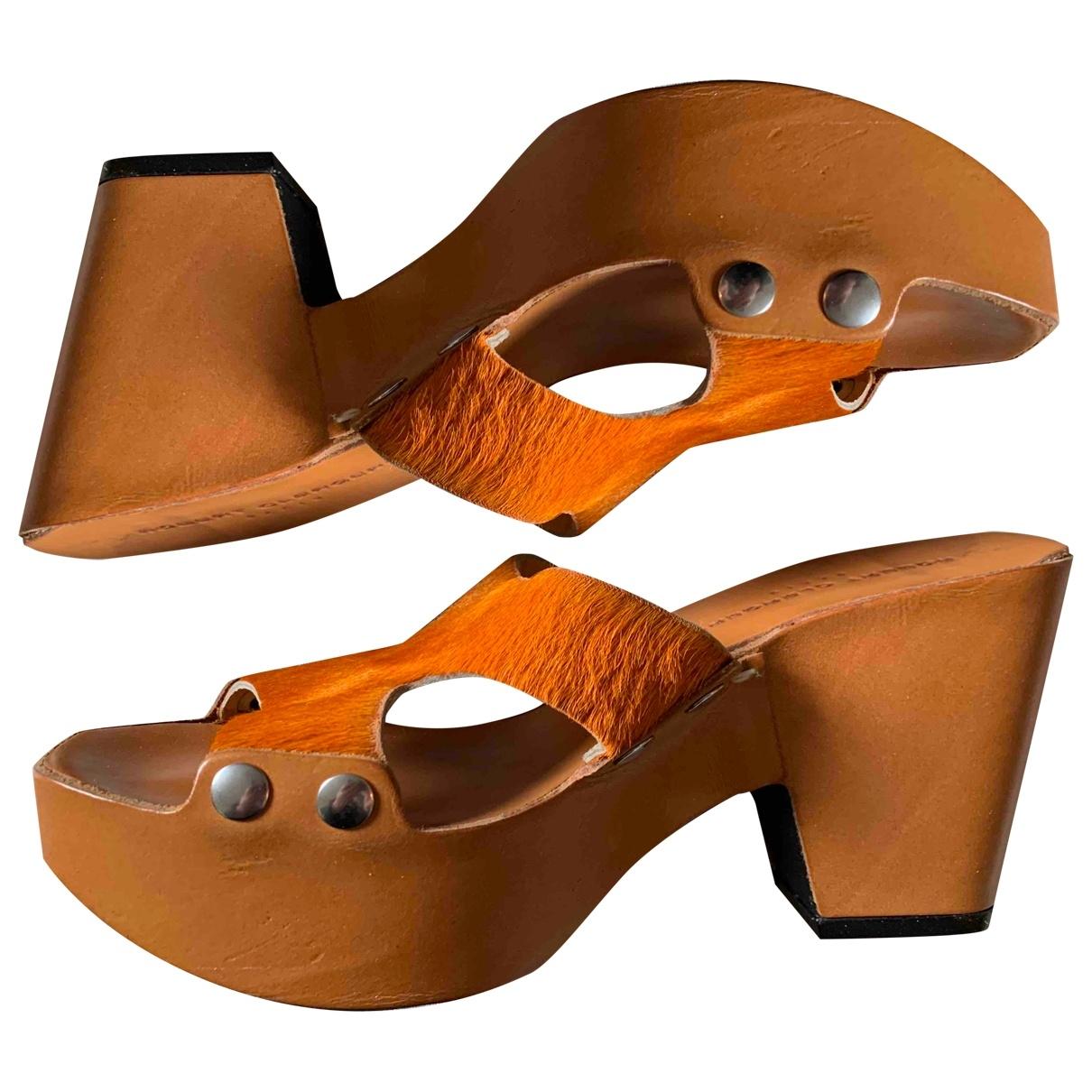 Robert Clergerie - Sabots   pour femme en veau facon poulain - orange