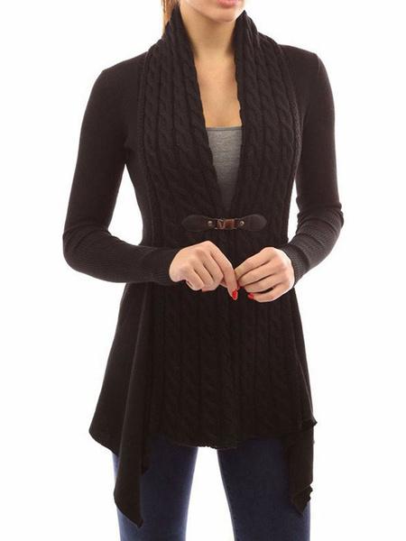 Milanoo Women Cardigan Sweater Long Sleeve Buckled Overcoat