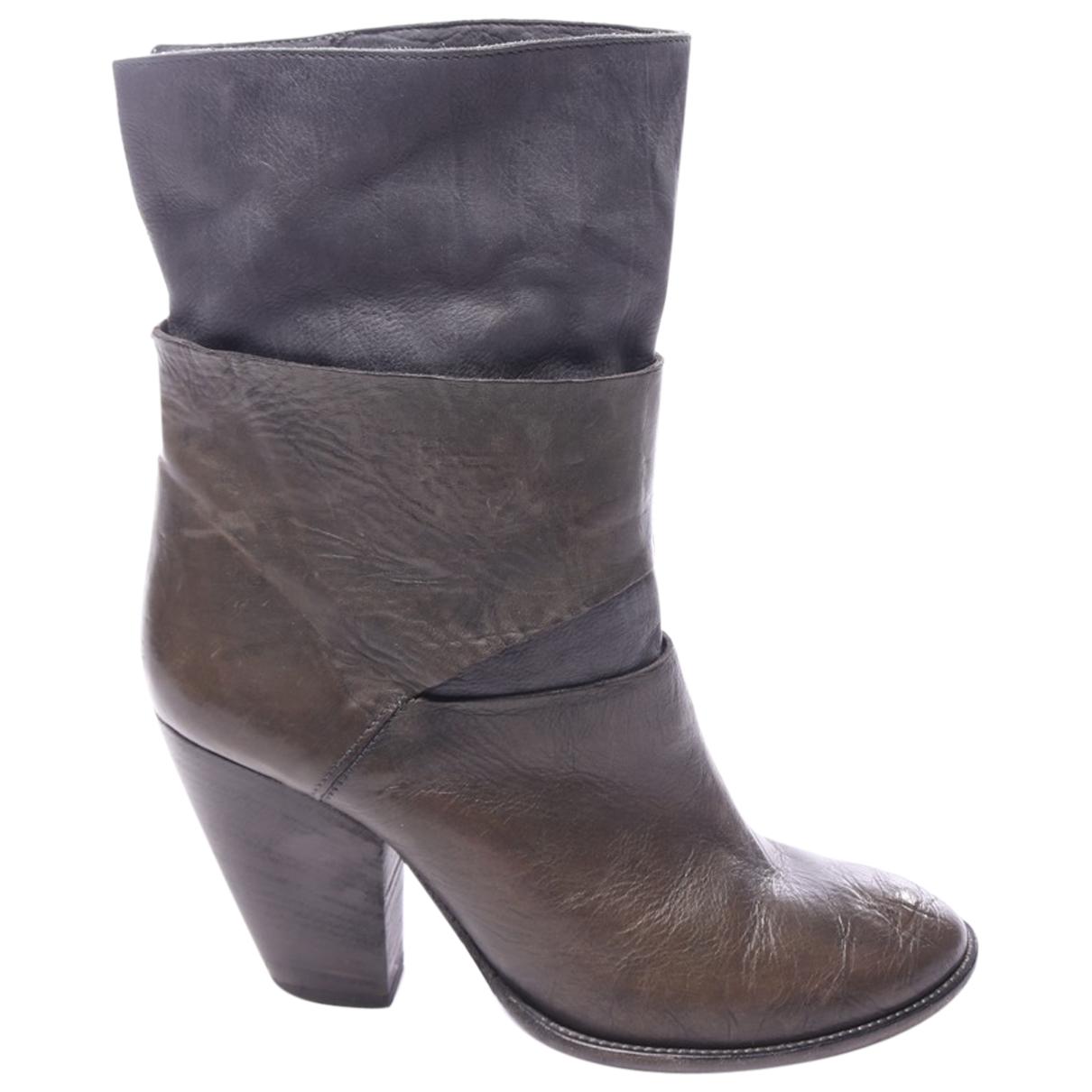 Vic Matie - Boots   pour femme en cuir - marron